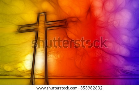 Wooden cross with rays in background - stock photo