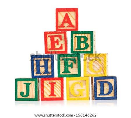 wooden cube alphabet - stock photo