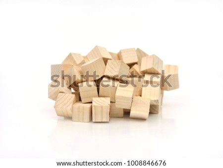 Wooden Cube Cluster On White