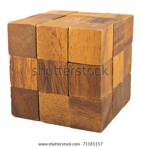 Wooden cube logical game isolated on white background - stock photo