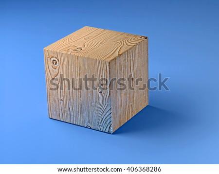 wooden cube on blue floor - 3D illustration - stock photo