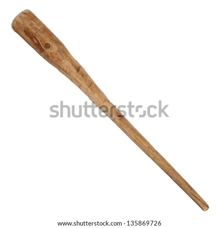 Wooden cudgel isolated over white background - stock photo