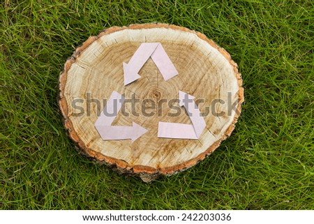 wooden cut on green grass and paper recycle symbol - stock photo