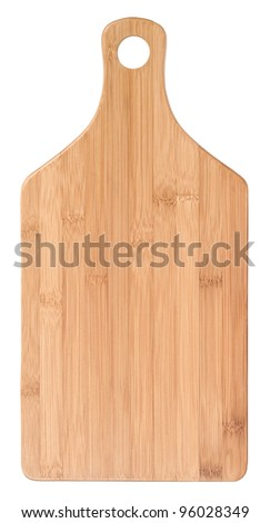 Wooden cutting board (bamboo) isolated on white background - stock photo
