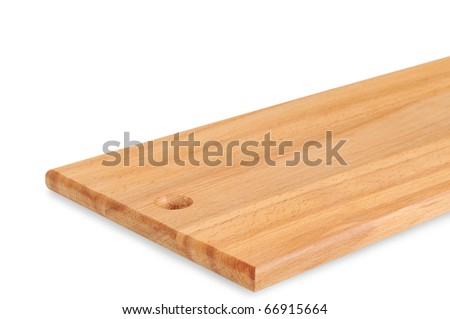 Wooden cutting board isolated on white. - stock photo