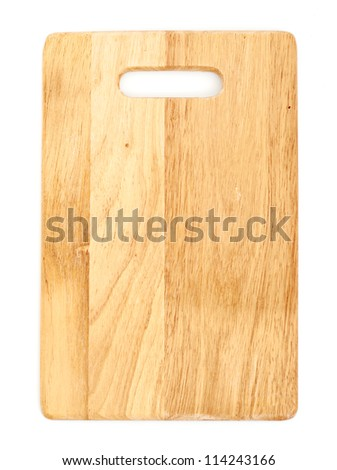 Wooden cutting board isolated on white background - stock photo