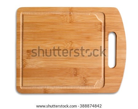 Wooden cutting table isolated, clipping path excludes the shadow. - stock photo