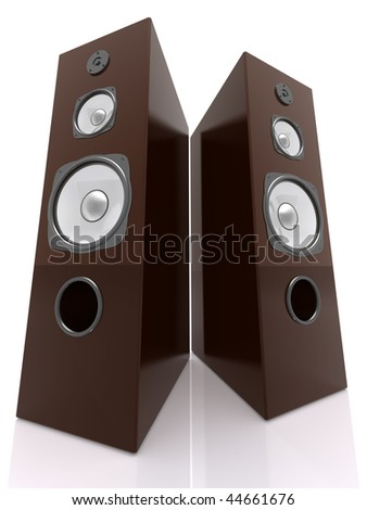 Wooden 3D Speakers Wide - stock photo