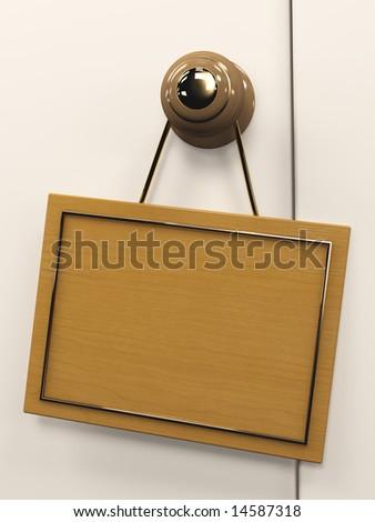 Wooden 3d tablet, hanging on the door handle - stock photo