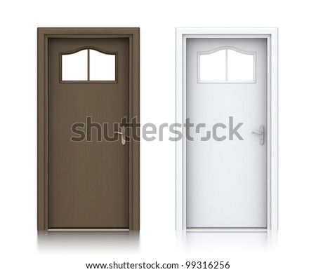 Wooden dark and white painted doors. High resolution 3D illustration with clipping paths. - stock photo