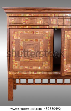 Wooden decorated Chest of drawers isolated - stock photo