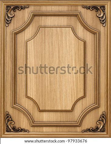 wooden decorative panel with golden frames. - stock photo