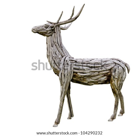 wooden deer made from nature material, handmade - stock photo