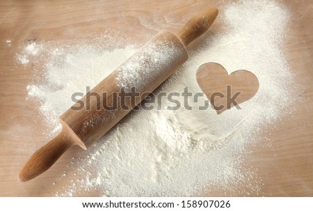 wooden desk of flour  - stock photo