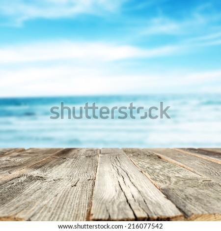 wooden desk of summer  - stock photo