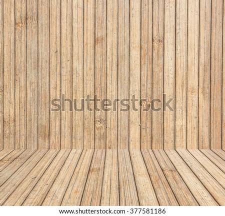 Wooden desk perspective room. - stock photo