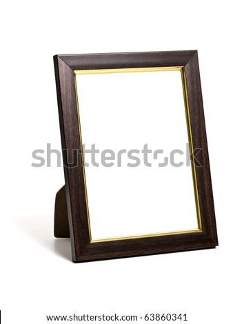 wooden desktop picture frame isolated on white - stock photo