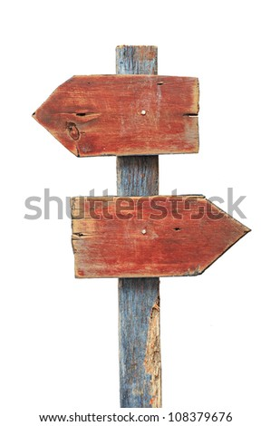 Wooden direction sign isolated on white background, clipping path included - stock photo