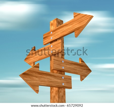 Wooden directional sign -this is a 3d render illustration - stock photo