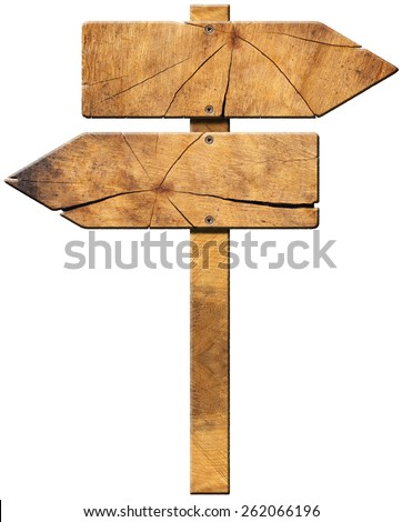 Wooden Directional Sign - Two Arrows. Wooden directional sign with two empty arrows in opposite direction isolated on white background - stock photo