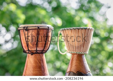 wooden djembe drums - stock photo