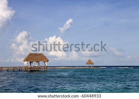 wooden dock at the caribbean sea at Yucatan Peninsula, Mexico - stock photo