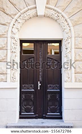 wooden door in old Riga , Latvia - stock photo