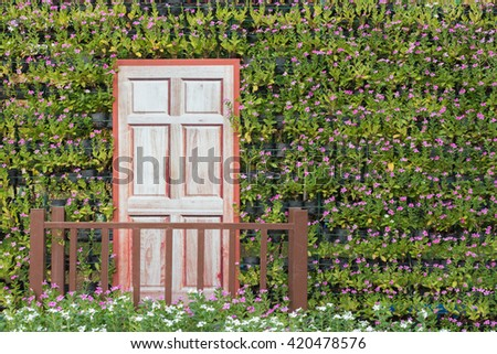 wooden door in the park - stock photo
