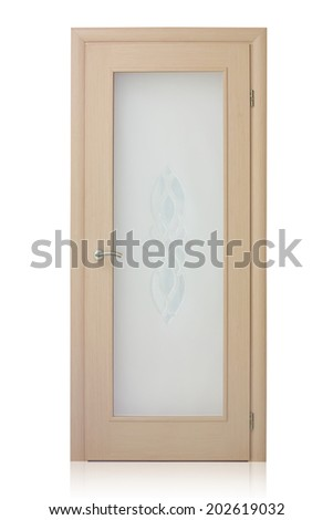 Wooden door isolated on white background - stock photo