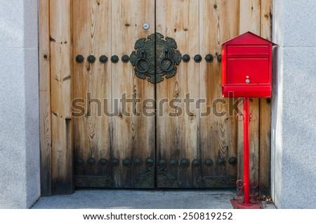 wooden door korean style,Seoul,South Korea - stock photo