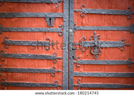 Wooden door of old castle reinforced with metallic bolts. & Wooden Door Old Castle Reinforced Metallic Stock Photo (Download Now ...