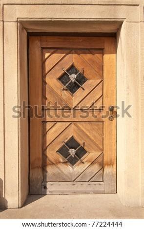 Wooden Door, Prague, The Czech Republic - stock photo
