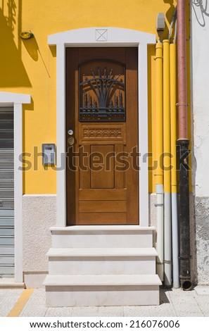 Wooden door. San Severo. Puglia. Italy. - stock photo