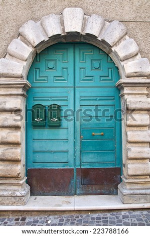 Wooden door. Satriano di Lucania. Italy. - stock photo