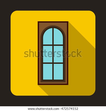 Wooden door with glass icon in flat style on a yellow background
