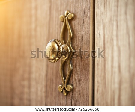 wooden door with grill stainless door knob or handle on wooden door in beautiful lighting & Wooden Door Grill Stainless Door Knob Stock Photo (Royalty Free ...