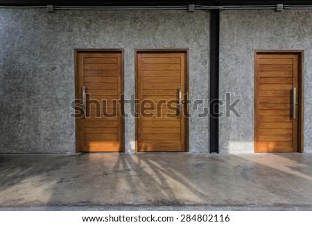 Wooden Door, Wood Door, Door - stock photo