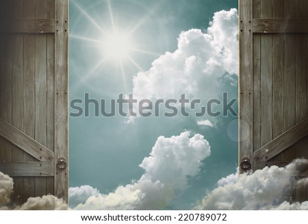 wooden doors open to heaven sky      - stock photo