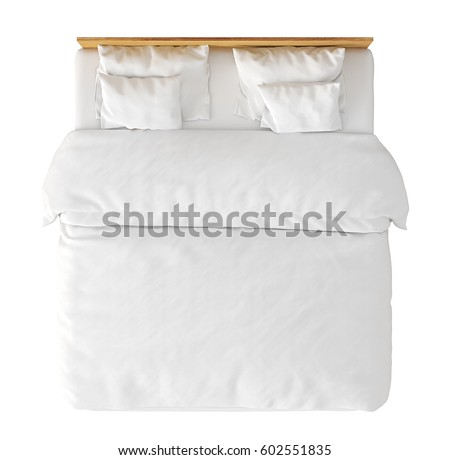wooden double bed with white linen isolated on background include clipping path 3d view preview top view d20 top