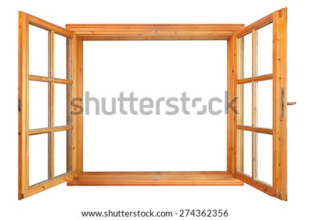 Wooden double window opened isolated on white background - stock photo