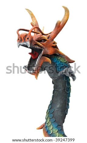 Wooden dragon with open mouth on white background - stock photo