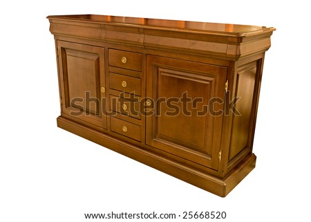 wooden dresser classic over white background - stock photo