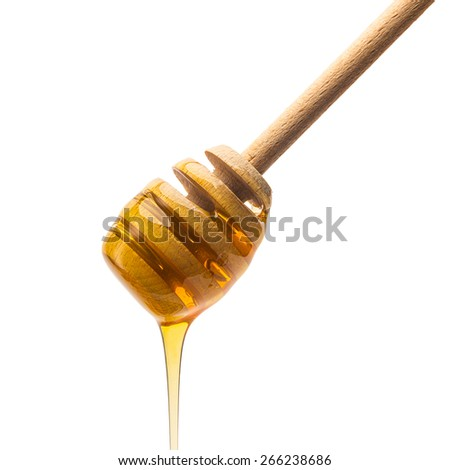 wooden drizzler with pouring honey on white background - stock photo