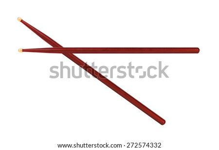 Wooden drumsticks isolated on white background - stock photo