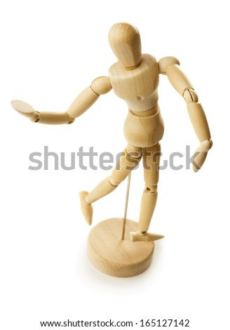 Wooden dummy isolated on white background