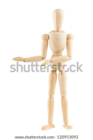 Wooden dummy showing product, space to insert text or design