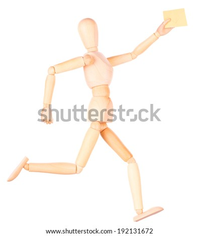 wooden Dummy with envelope Isolated on a white backgrond - stock photo