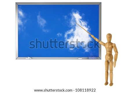 Wooden Dummy with sky school blackboard on a white background - stock photo