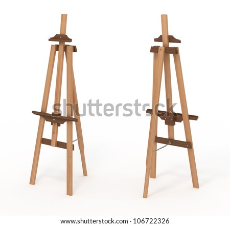 Wooden easel, empty, front and back, isolated on white, with clipping path, 3d illustration - stock photo
