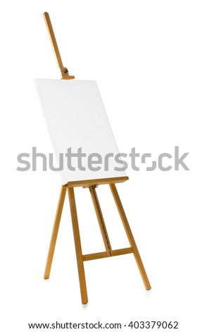 Wooden easel with blank canvas over white background - stock photo